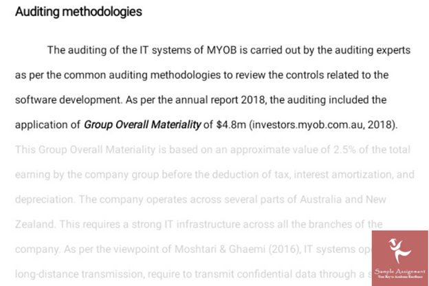 audit report assignment sample