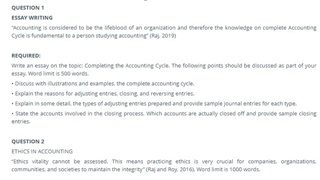 accounting cycle assignment question