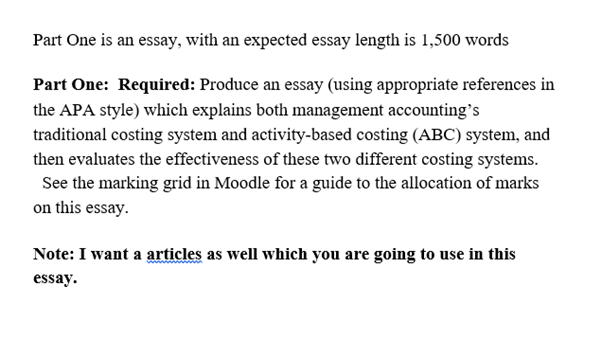 activity based costing homework question