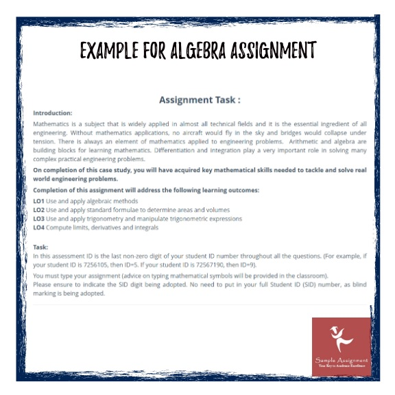 examples of algebra assignments