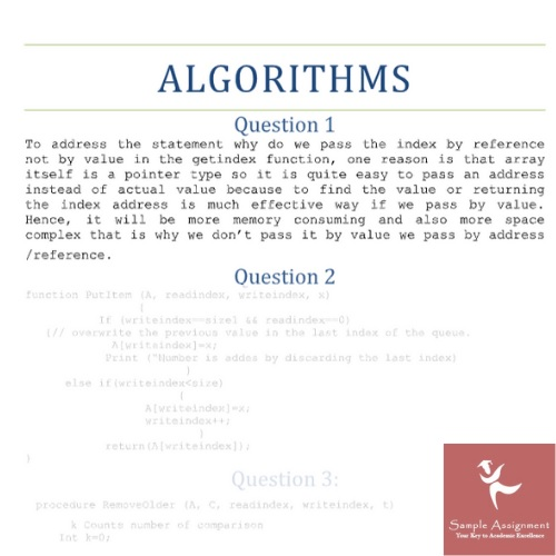 algorithm assessment answer
