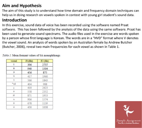 audiology studies assignment sample