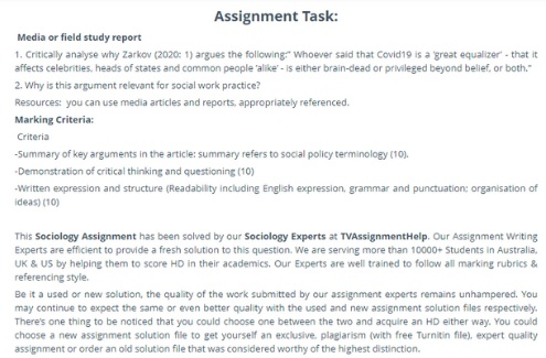 critical thinking assignment