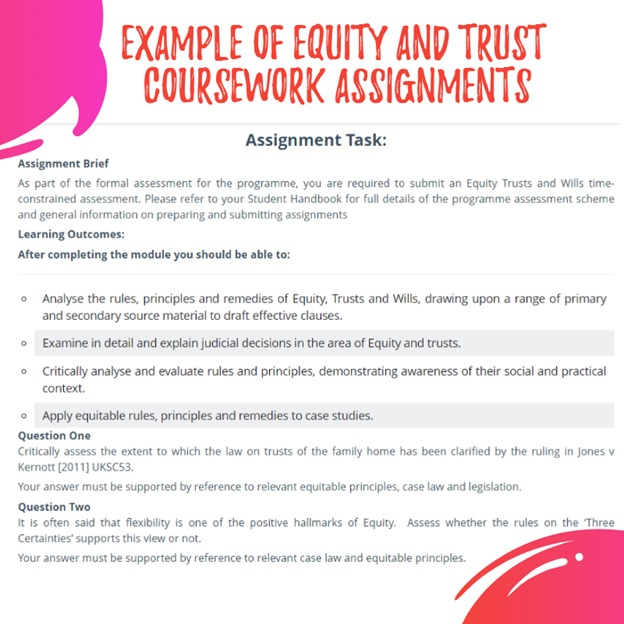 equity and trust coursework assessment help