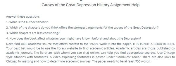 great depression assessment help
