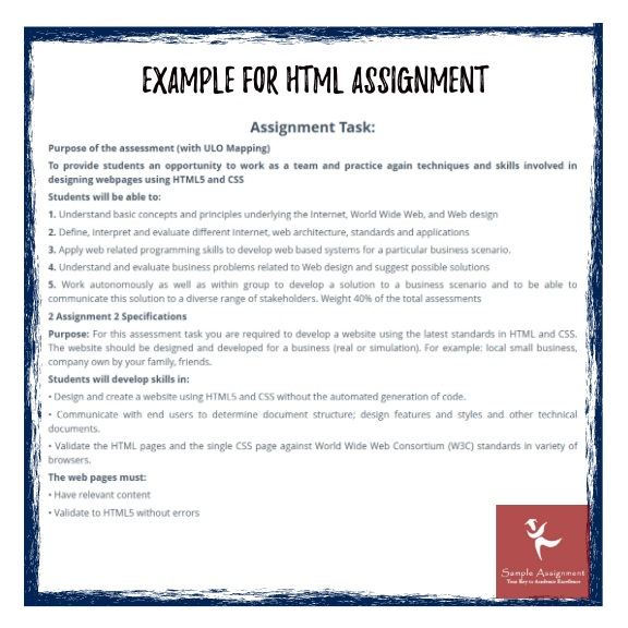 html assignment examples