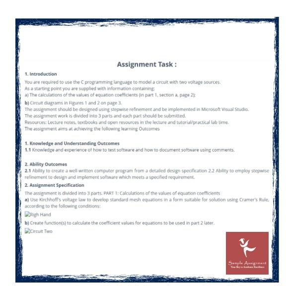 kirchhoffs law assessment help