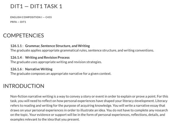 narrative essay assignment question