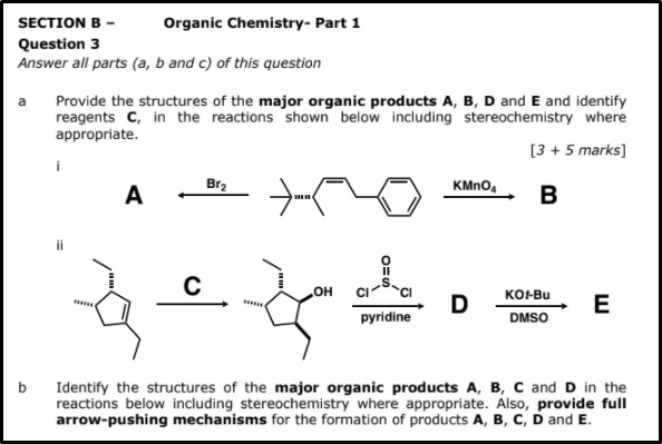 organic chemistry assignment questions