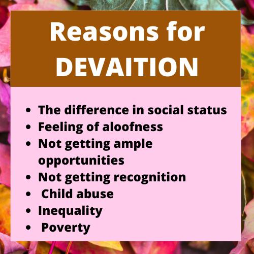reason for deviation