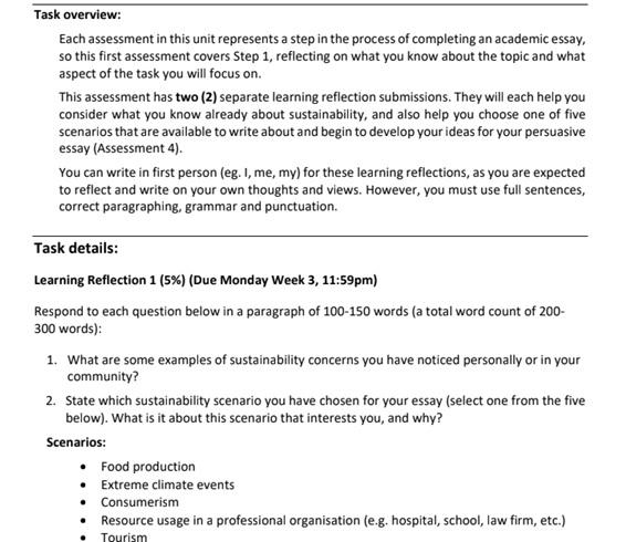 reflective journal assessment