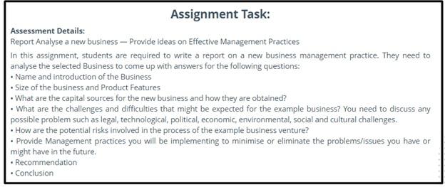 business management assignment question