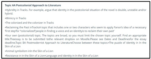 english literature homework question sample