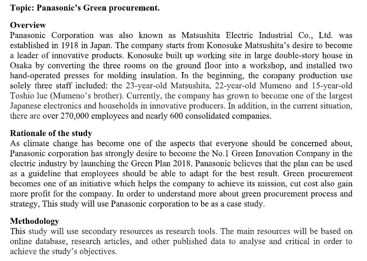 Global Procurement assignment question