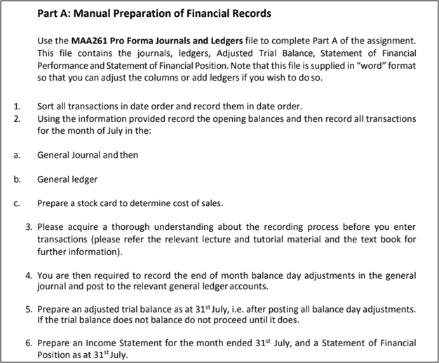 Manual Preparation of Financial Records Using Xero