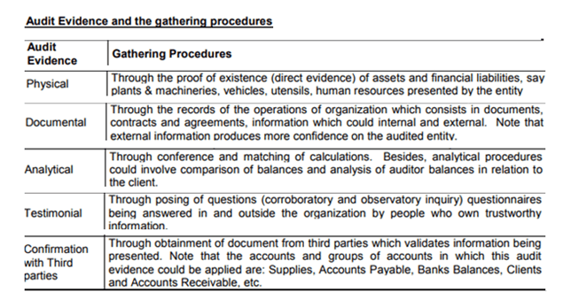 audit evidence provedure