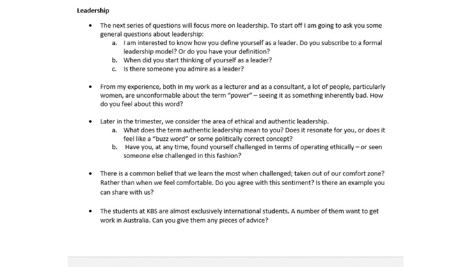 authentic leadership question