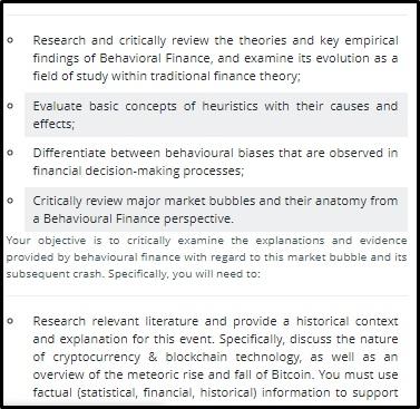behavioural finance assignment