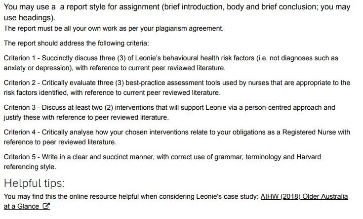 behavioural health case study answer