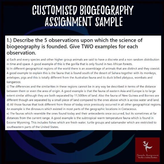 biogeography assignment sample online
