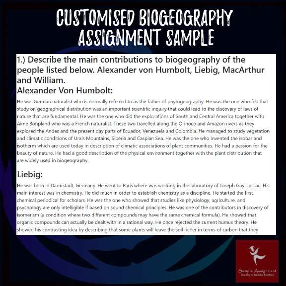 biogeography assignment sample