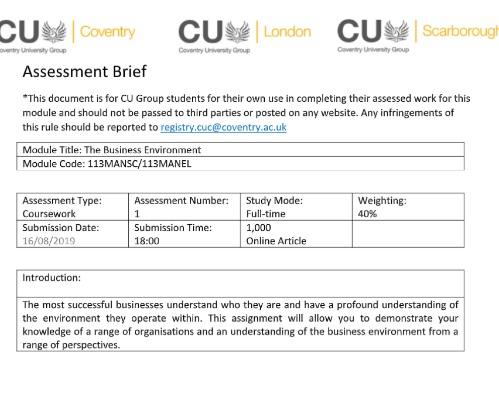Business Environment Assignment Help