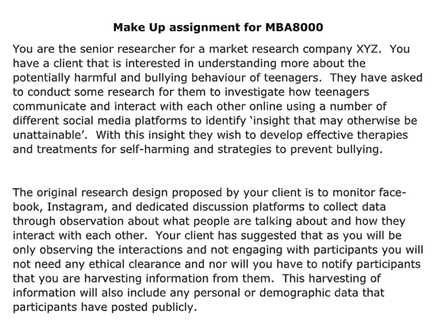 business research assignment on mba8000