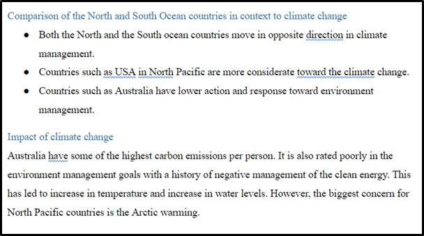 climate change assignment sample online