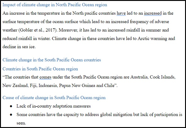climate change assignment sample