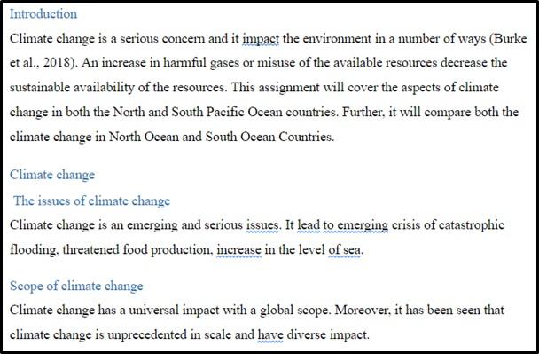 climate change sample
