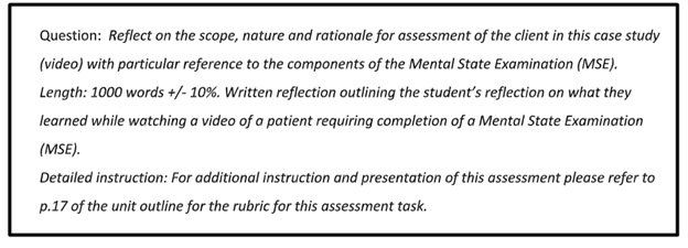 clinical instruction assignment question sample