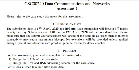 data and networking assignment sample