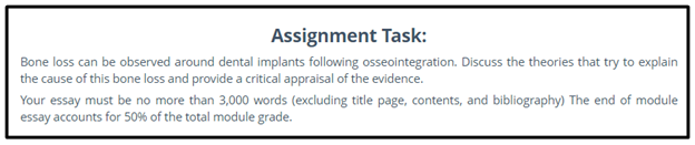 dentistry assignment question
