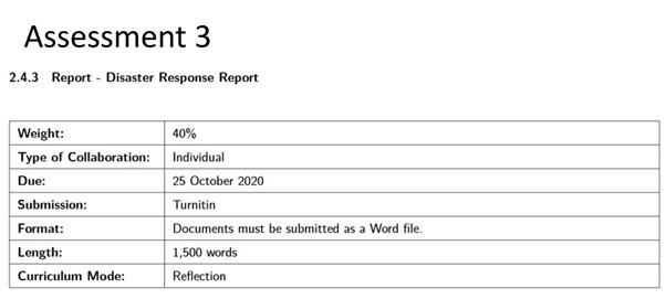 disaster management marking criteria assignment 3