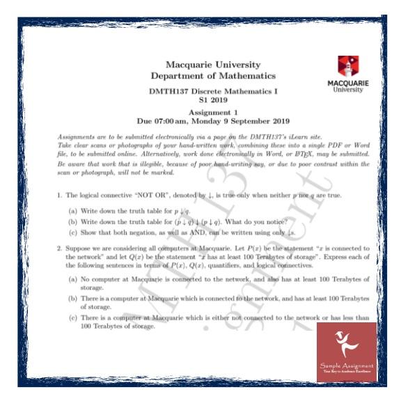 discrete mathematics assignment online