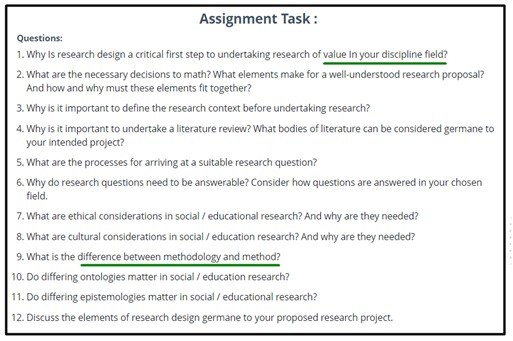 education research assignment question