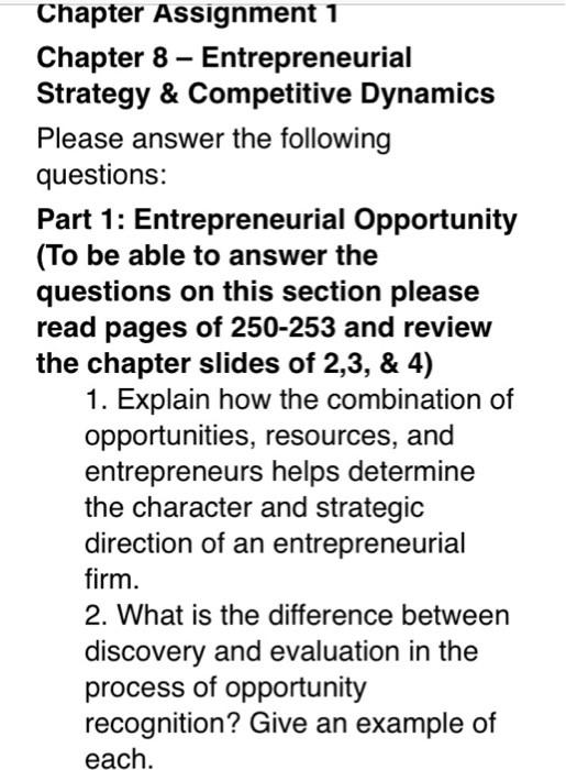entrepreneurship strategy assignment help