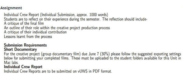 film analysis assignment question