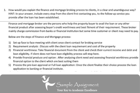 finance and mortgage broking assignment online