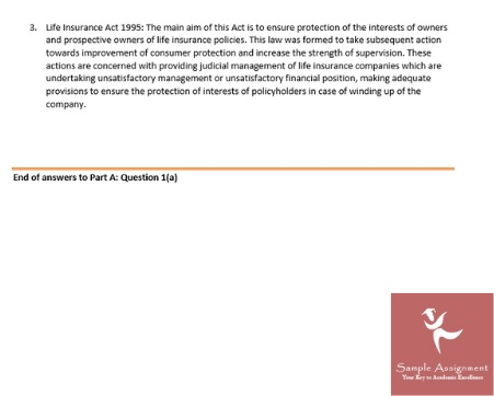 Finance Insurance Assignment Solution