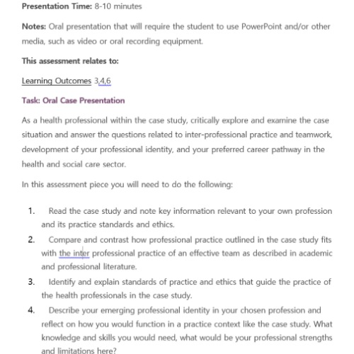 health- nd social care assignment