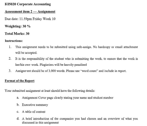hi5020 corporate accouting sample