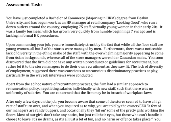 human resource assignment task sample