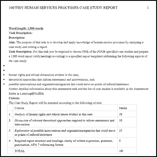 human services and interventions assignment
