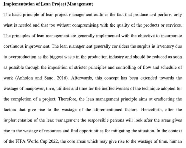 implementation lean project management assignment sample