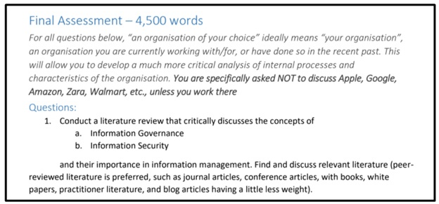 information management assignment question