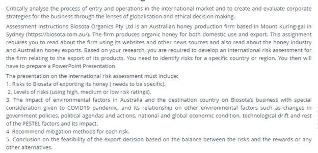 international risk assessment sample online