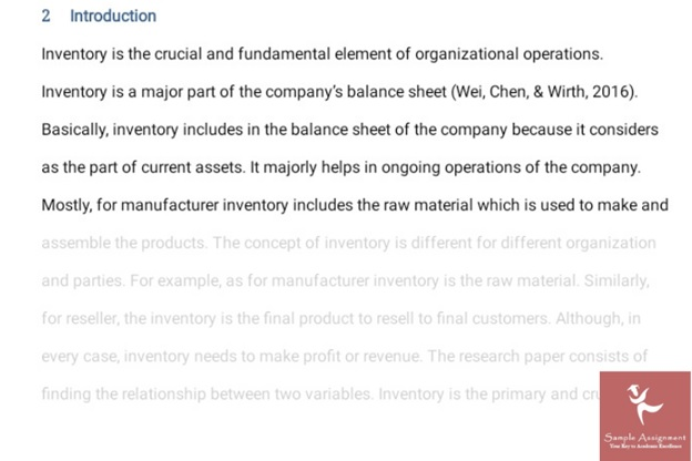 inventory management assignment sample