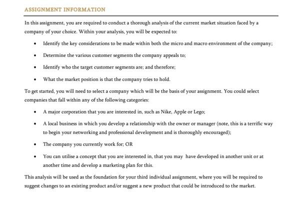 market analysis assignment experts