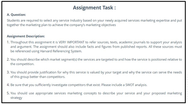 marketing mix assignment question sample